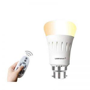 Lampaous® 9W Blanc Ambiance personnelle sans fil à baïonnette BC Cap B22Ampoule LED Smart lumières et 2,4G Wifi kit, 90Lumen vers 800lm double Blanc intensité variable, 2700K-6500K Blanc chaud Blanc froid réglable, Variation à changement de couleur image 0 produit
