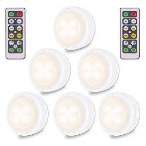 Lampe de Placard, sans fil alimenté par batterie LED Night Light Dimmable bâton-n'importe où les lumières de la rondelle avec télécommande pour les escaliers de cuisine Armoire armoire (blanc chaud, 6 Pack) de la marque WOWGO image 0 produit