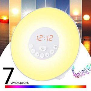 Lampe de Réveil,Lampe de Chevet Lumiere du jour,Simulation d'Aube/de Crépuscule(10 Intensités)6 Alarmes et Fonction Radio FM 7 Changement de Couleur Veilleuse LED Tactile(Adaptateur+Câble USB assorti) de la marque GRDE image 0 produit