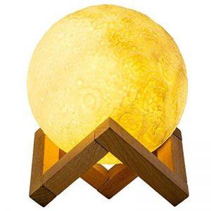 Lampe Lune 3D, Cuitan Tactile Lumière de Nuit 3 Couleur Ajustables USB Rechargeable Veilleuse de Chevet (Contrôle Tactile, 13cm) avec Mont en Bois pour Anniversaire, Chambre, Décoratif, Amis de la marque Cuitan image 0 produit