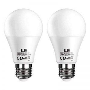 LE Lighting EVER Ampoules Dimmable LED E27 9W (=60W Ampoule Incandescente), 2700K Lumière Blanc Chaud, Luminosité Réglable 800-400-120LM, 200° d'Angle de Faisceau, Idéale pour Chambre, Salon, Séjour, etc. Lot de 2 de la marque Lighting EVER image 0 produit