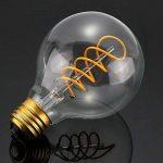 LED Edison Ampoule, Elfeland E27 3W Ampoule Vintage 3W Remplace Ampoule Incandescence de 25W Filament en Spirale LED Style Rétro Antique Dimmable 2200K 180LM Lumière Blanc Chaud Globe Modèle G80 de la marque Elfeland image 3 produit