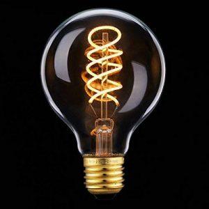 LED Edison Ampoule, Elfeland E27 3W Ampoule Vintage 3W Remplace Ampoule Incandescence de 25W Filament en Spirale LED Style Rétro Antique Dimmable 2200K 180LM Lumière Blanc Chaud Globe Modèle G80 de la marque Elfeland image 0 produit