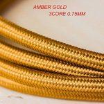 Ledsone 10metres de long 3Core Tissu tressé câble d'éclairage Flex Cordon vintage industriel/Red-black-brown-gold-black et blanc Couleurs, or de la marque Ledsone image 1 produit