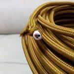 Ledsone 10metres de long 3Core Tissu tressé câble d'éclairage Flex Cordon vintage industriel/Red-black-brown-gold-black et blanc Couleurs, or de la marque Ledsone image 3 produit