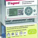 Legrand Eco Compteur Electrique – Mesure de consommation des énergies du logement (électricité, gaz, eau)– compteur triphasé avec 3 tores – ref 92704 de la marque Legrand image 1 produit