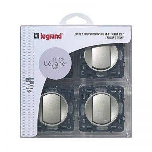Legrand – Lot de 4 Interrupteurs va-et-vient à Composer – Céliane Soft – Interrupteur Mural Titane - 200263 de la marque Legrand image 0 produit