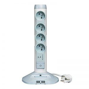 Legrand – Rallonge Multiprise et USB Verticale avec Parafoudre Intégré - Blanc/Gris - 050014 de la marque Legrand image 0 produit