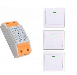 lejin 220V 1canal RF Télécommande sans fil commutateur 1émetteur + 3récepteur Télécommande avec RF Interrupteur mural sans fil AC 220V Appareil sur électronique à pâte/à de la marque Lejin image 0 produit