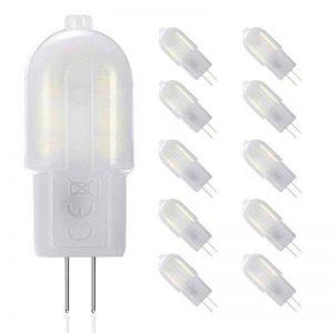 Lot de 10 ampoules LED 2W = 20W - AC/DC 12V - Faisceau 360° - Blanc Froid 6000K - Non compatible avec variateur d'intensité - Gvoree G4 de la marque GVOREE image 0 produit
