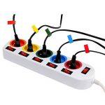 Lot de 2 - Bloc Multiprise Couleur - Interrupteur pour Chaque Sortie + Stickers de la marque Fishtec image 2 produit