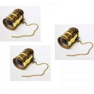 Lot de 3 douilles Gold de type E27 vintage avec interrupteur à chaînette de la marque Desineo image 0 produit