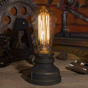 Luminaire Industriel Rétro Edison Lampe de Table E27 Douille en Métal Antique Lampe de Nuit Ambiance Décorative pour Restaurant Café Bars Atelier Salon Chambre - Noir ( Sans Ampoule ) de la marque image 0 produit