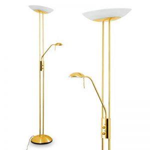 Luminaire LED Lucca doté de deux variateurs d'intensité indépendants - Lampadaire de salon finition laiton avec vasque en verre ovale - Teinte de lumière blanc chaud de la marque hofstein image 0 produit