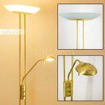 Luminaire LED Lucca doté de deux variateurs d'intensité indépendants - Lampadaire de salon finition laiton avec vasque en verre ovale - Teinte de lumière blanc chaud de la marque hofstein image 1 produit
