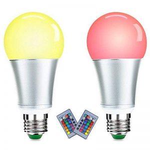 LUXJET LED Ampoules de couleur,10W E27 RGBW Ampoule Led,Changement de Couleur Télécommande, Dimmable RGB+lumière du jour Blanc(6500K)[Classe énergétique A+] (2er Pack) de la marque LUXJET image 0 produit