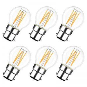 LVWIT 4W Ampoule LED Filament à Bayonnate G45 B22, 2700K Blanc Chaud, 470Lm, Ampoule Vintage, Non-dimmable, Lot de 6 de la marque LVWIT image 0 produit