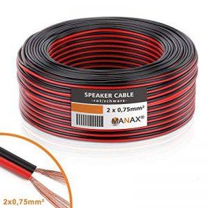 MANAX Câble de Haut-Parleur Câble de Haut-Parleur Rouge/Noir 2x 0,75mm², CCA Rouleau DE 50m de la marque MANAX image 0 produit