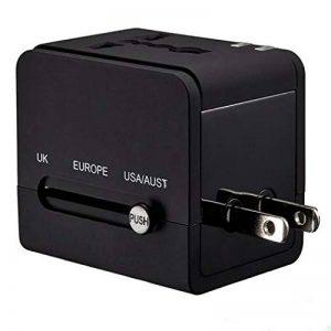 MANGETAL Adaptateur de voyage universel avec 2 ports USB pour 150 pays européens et USA/Australian/UK taille unique noir de la marque MANGETAL image 0 produit