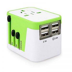 MANGETAL Adaptateur de voyage universel avec chargeur USB – Convertisseur international – 4 ports USB – Couvertures USA, Japon, Chine, Italie, UK, 150 + pays taille unique vert/gris de la marque MANGETAL image 0 produit