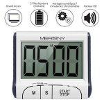 Merisny Minuteur de Cuisine Électronique, Minuterie Numérique 24 Heures avec Sonore Ecran LCD, Compte à Rebours Support Aimanté - Blanc (Batterie Incluse) de la marque Merisny image 3 produit