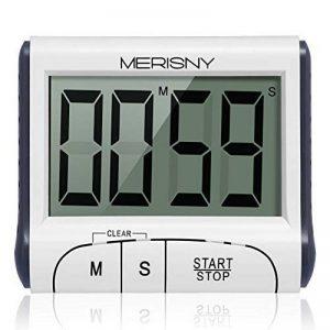 Merisny Minuteur de Cuisine Électronique, Minuterie Numérique 24 Heures avec Sonore Ecran LCD, Compte à Rebours Support Aimanté - Blanc (Batterie Incluse) de la marque Merisny image 0 produit