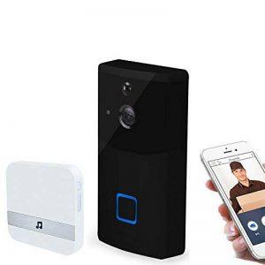 MIAO@LONG WiFi Smart Sonnette Visuelle 720P HD Caméra De Sécurité À Domicile avec Carillon Et Batterie avec Un Récepteur Intérieur (Noir) de la marque MIAO@LONG image 0 produit
