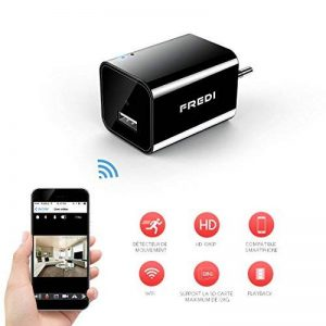 Mini Caméra 1080P HD, Caméra de Surveillance Chargeur USB, Caméra Espion Portable Caméra de Sécurité WiFi Petite Caméra Détection de Mouvement (Jusqu'à 128 Go) de la marque FREDI image 0 produit