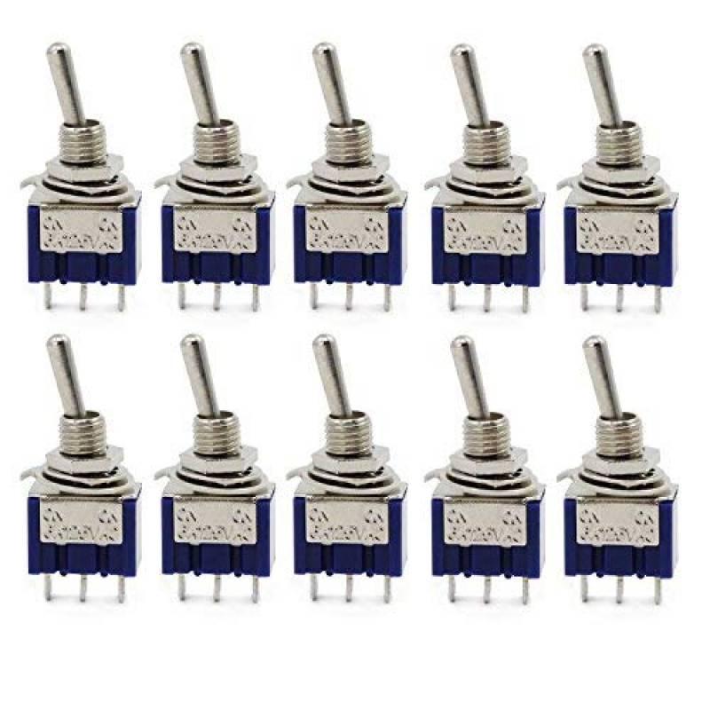 Clw1015 Cylewet 10/pcs Mts102/AC 125/V 6/A on//on 3/Pins 2/positions Mini interrupteur /à bascule Unique Connexion pour Arduino lot de 10