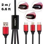 Multi Câble de Chargement LinkOn 2m/6.6ft Corde de Chargeur 3 en 1 en Nylon Tressé, USB Type C, USB Micro et Parafoudres pour Samsung, Android, Apple iPhone 5,5s,5c,6,6s,7 (Noir) de la marque LinkOn image 1 produit