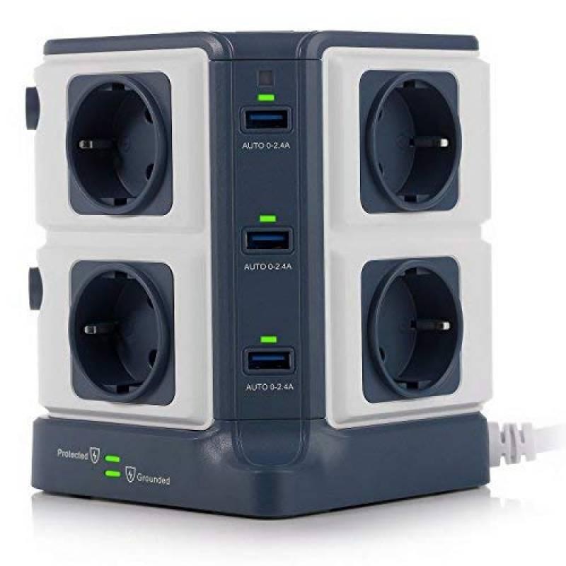 Chacon 49432 Multiprise design avec Parafoudre//Disjoncteur//Interrupteur 3 m 4 Prises Gris fonc/é
