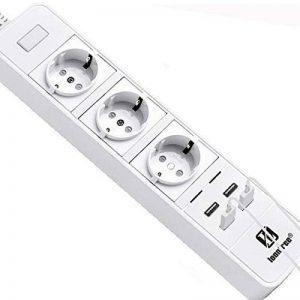 Multiprise connectée Loonfree: avec 3 prises et 4 ports USB - Commandée en WiFi grâce une application - Compatible avec Alexa - Parasurtenseur intégré de la marque LOONFREE image 0 produit