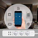 Multiprise connectée Loonfree: avec 3 prises et 4 ports USB - Commandée en WiFi grâce une application - Compatible avec Alexa - Parasurtenseur intégré de la marque LOONFREE image 4 produit