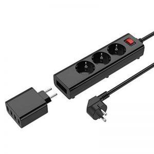 Multiprise Electrique USB, 3 Outlet Power Strip Avec 4 Ports USB Chargeur Multiprise Parafoudre et Surtension Universel 5V 10A Multiprise Parasurtenseur Bloc Prise USB avec Cordon d'alimentation 1.8M de la marque Simpfun image 0 produit