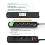 Multiprise électrique prises USB RAVPower avec 4prises et 2ports USB iSmart avec câble de 1,5m et supports inférieurs pour la fixation au mur, sortie totale de 3.1A, noir, IT RP-PC010 de la marque RAVPower image 2 produit