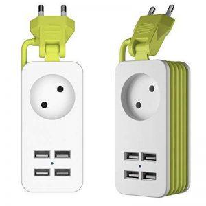 Multiprise Parasurtenseur/parafoudre 1 Strip avec 4 Ports USB de Voyager Recharge, Cordon 1.5 mètres 1 Outlet Power Strip avec 4 Ports USB de Recharge avec Un QC3.0 USB de la marque Simpfun image 0 produit