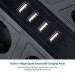 Multiprise Parasurtenseur Parafoudre, Lidlife Protection Contre les Surtensions avec 8 Prises de Distribution à Plusieurs Prises avec 4 USB Ports de avec Câble d'extension de 2 m (Noir) de la marque Lidlife image 3 produit