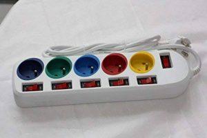 Multiprise - rallonge prise electrique - Bloc prises - 5 prises - interrupteur individuellement (Steckdosenleiste) de la marque image 0 produit