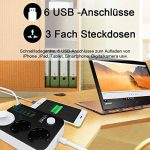 Multiprise USB , Multiprise Parasurtenseur 3 prises outlet + 6 ports USB , Parasurtenseurs / parafoudre ,avec protection contre la surtension , cordon 1.6 mètres (3 Outlet + 6 USB) de la marque CtopoGo image 1 produit