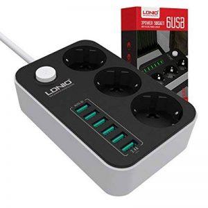 Multiprise USB , Multiprise Parasurtenseur 3 prises outlet + 6 ports USB , Parasurtenseurs / parafoudre ,avec protection contre la surtension , cordon 1.6 mètres (3 Outlet + 6 USB) de la marque CtopoGo image 0 produit