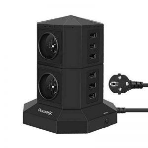 Multiprises Parafoudre et Surtension,Powerjc 4 Prises Electrique Informatique 6 Ports (5V 2,4A) Multiprise USB avec 6.6ft Rallonge Electrique,Interrupteur,Adaptateur Douille Noir de la marque image 0 produit