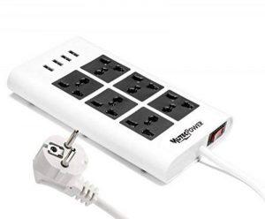 MutecPower Powerstrip Universelle 6 Femelles 4 Ports USB - 100V à 220V / 250V 2500 Watts Surge Protector disjoncteur l'usage du Monde de la marque MutecPower image 0 produit