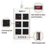 MutecPower Powerstrip Universelle 6 Femelles 4 Ports USB - 100V à 220V / 250V 2500 Watts Surge Protector disjoncteur l'usage du Monde de la marque MutecPower image 1 produit