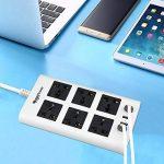 MutecPower Powerstrip Universelle 6 Femelles 4 Ports USB - 100V à 220V / 250V 2500 Watts Surge Protector disjoncteur l'usage du Monde de la marque MutecPower image 4 produit