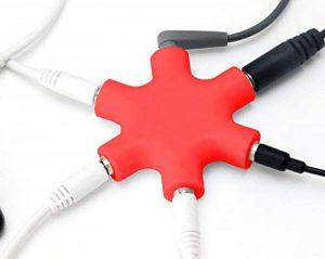 MyGadget Séparateur Audio 5 Ports - 3,5 mm Aux Splitter - Convertisseur Répartiteur Etoile - Partage pour câbles de Smartphone, Laptop & PC - Rouge de la marque MyGadget image 0 produit