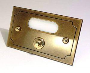 Neroni Mameli 503 Aurelio Plaque avec bouton de sonnette, en laiton poli, avec bouton électrique alimenté en 24V, avec cache-vis et plaque nominative personnalisable, pour maison / jardin / extérieur / ameublement / design - fixation simple et rapide au image 0 produit