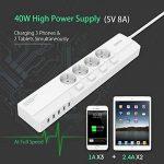 NTONPOWER Multiprise Électrique avec Interrupteur 4 Prise AC 5 Port USB de Charge avec Interrupteur Parafoudre et Câble d'Alimentation de 1.50m – Blanc de la marque NTONPOWER image 1 produit