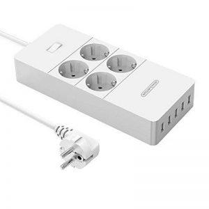 NTONPOWER Multiprise Parafoudre Protection à 4 Prises avec 5 Ports USB de Recharge et Cordon de 1.5m pour Maison et Bureau – Blanc de la marque NTONPOWER image 0 produit