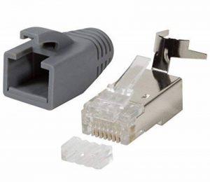 odedo® Lot de 10Fiche Gris Cat 7, Cat 7A, Cat 6a à sertir pour câble de pose à 8mm 10Gbit Ethernet Gigabit Starre ou brins 1.2mm-1.45mm Fiche RJ45Métal blindé flexible avec Passe-fil de la marque odedo® image 0 produit