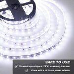 Onforu Kit de 5M Ruban LED Blanc Froid, Bande LED 12V, 300 LEDs, 6000K Lumière Blanche, Bande LED Flexible et Autocollante, Eclairage Indirect Intérieur pour la Vitrine, Dressing, Escalier, Etagères, Présentoir, Cuisine, Bar etc de la marque Onforu image 1 produit